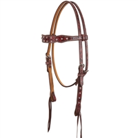 Cactus Saddlery Red Embossed Headstalls with Crystals