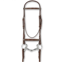 Ovation Avalon Italian Leather Snaffle Bridles With Reins - Plain Raised