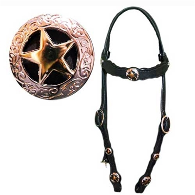 Black Leather Western Bridles with Star Conchos
