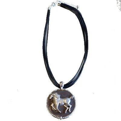 Circular Horse Pendants with Black Cords