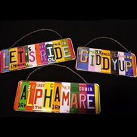 Hanging License Plate Signs