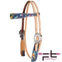 Fallon Taylor Dynamic Edge Denim Splatter Browband Headstall
