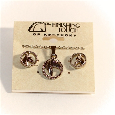 Western Edge by Finishing Touch of Kentucky - Horse Head Earrings and Pendant