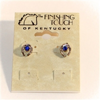Finishing Touch of Kentucky Horse Shoe Earrings With Blue Crystal