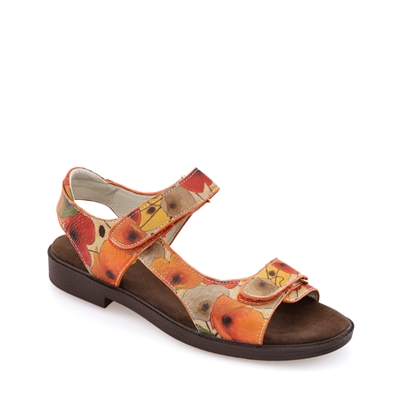"Brad-492 Golf Sandal w/ Moisture Wicking in ""Pumpkin Poppies"" by Shirley Novak"
