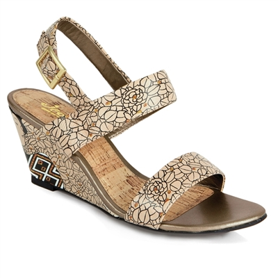 "Crystal-453 Covered Wedge Sandal in ""Silhouette"" by Gustav Klimt"