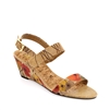 "Crystal-492 Covered Wedge Sandal in ""Pumpkin Poppies"""" by Shirley Novak"