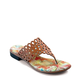 "Dottie-476 Flat Thong w/ Laser-Cut Upper in ""Aunt & Child"" by Paul Klee"