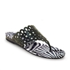 "Dottie-478 Flat Thong w/ Laser-Cut Upper in ""Zebra Stripes"" by Icon Artists"