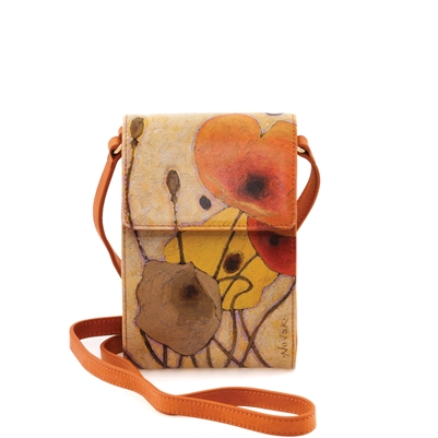 "Karla-492 Cell Phone bag w/ Card Slots in ""Pumpkin Poppies"" by Shirley Novaks"