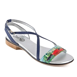 "Keira-471 Strappy Flat Sandal in ""Red Boats"" by Claude Monet"