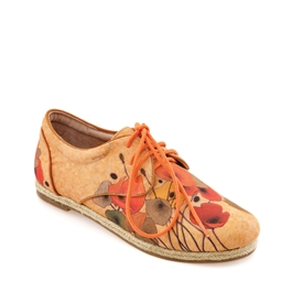 "Kylie-492 Canvas Espadrille Sneaker in ""Pumpkin Poppies"" by Shirley Novaks"