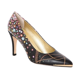 "Maria-463 High Heel Pump/Metal Toe Rand in ""Water Serpents II"" by Gustav Klimt"