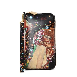 "Maui-463 Cell Phone Wallet w/ Wrist Strap in ""Water Serpents II"" by Gustav Klimt"