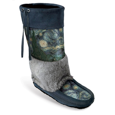 """Starry Night"" <br><b>MUKLUK1-505-R</b><br>&nbsp;Classic Mukluk with Rabbit Fur Trim"