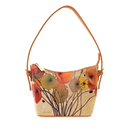 "Sally-492 Small Shoulder Bag in ""Pumpkin Poppies"" by Shirley Novaks"