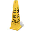 "12.25"" x 12.25"" x 36"" Safety Cone w/ Multi-Lingual ""Caution, Wet Floor"" Imprint (QTY: 5)"