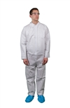 Keystone KeyGuard Microporous Coverall w/ Non-Elastic Wrists/Ankles, Zipper Front, Single Collar, White