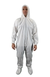 Keystone KeyGuard Microporous Coverall w/ Elastic Wrists, Attached Hood/Boots, Zipper Front, White
