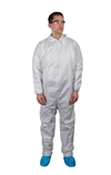 Keystone KeyGuard Microporous Coverall w/ Elastic Wrists/Ankles, Zipper Front, Single Collar, White