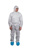 Keystone KeyGuard Microporous Coverall w/ Elastic Wrists/Ankles, Attached Hood, Zipper Front, White