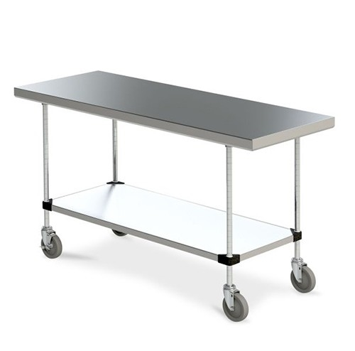 Metro MWTSFS Mobile Stainless Steel Work Table With Stainless - 24 x 48 stainless steel work table