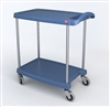 "18-15/16"" x 31-1/2"" x 35-1/2"" myCart 2-Shelf Polymer Utility Cart w/ Chrome Plated Posts, Antimicrobial Blue"
