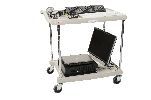 "18-15/16"" x 31-1/2"" x 35-1/2"" myCart 2-Shelf Polymer Utility Cart w/ Chrome Plated Posts, Gray"