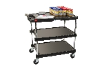 "18-15/16"" x 31-1/2"" x 35-1/2"" myCart 3-Shelf Polymer Utility Cart w/ Chrome Plated Posts, Black"