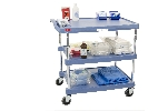 "18-15/16"" x 31-1/2"" x 35-1/2"" myCart 3-Shelf Polymer Utility Cart w/ Chrome Plated Posts, Antimicrobial Blue"