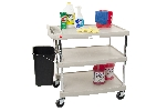 "18-15/16"" x 31-1/2"" x 35-1/2"" myCart 3-Shelf Polymer Utility Cart w/ Chrome Plated Posts, Gray"