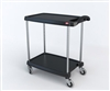 "23-7/16"" x 34-3/8"" x 35-1/2"" myCart 2-Shelf Polymer Utility Cart w/ Chrome Plated Posts, Black"