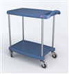 "23-7/16"" x 34-3/8"" x 35-1/2"" myCart 2-Shelf Polymer Utility Cart w/ Chrome Plated Posts, Antimicrobial Blue"