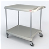 "23-7/16"" x 34-3/8"" x 35-1/2"" myCart 2-Shelf Polymer Utility Cart w/ Chrome Plated Posts, Gray"