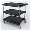 "23-7/16"" x 34-3/8"" x 35-1/2"" myCart 3-Shelf Polymer Utility Cart w/ Chrome Plated Posts, Black"