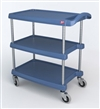 "23-7/16"" x 34-3/8"" x 35-1/2"" myCart 3-Shelf Polymer Utility Cart w/ Chrome Plated Posts, Antimicrobial Blue"