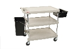 "23-7/16"" x 34-3/8"" x 35-1/2"" myCart 3-Shelf Polymer Utility Cart w/ Chrome Plated Posts, Gray"