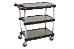 "27-11/16"" x 40-1/4"" x 36-7/8"" myCart 3-Shelf Polymer Utility Cart w/ Chrome Plated Posts, Black"