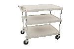 "27-11/16"" x 40-1/4"" x 36-7/8"" myCart 3-Shelf Polymer Utility Cart w/ Chrome Plated Posts, Gray"