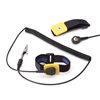 Adjustable Velcro Wrist Strap with 4mm Snap & Alligator Clip, Black, includes 12' Coil Cord