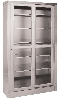 "47"" x 84.25"" x 15.875"" Stainless Steel Storage Cabinet, Two Glass Sliding Doors, Five Shelves"