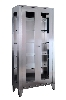 "38.875"" x 76.75"" x 16"" Stainless Steel Display Cabinet, Two Glass Hinge Doors, Five Shelves"