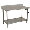 Eagle ADA/Ergonomic Height Adj. Stainless Steel Table with Backsplash & Stainless Shelf Base, 24 x 48