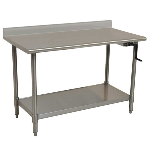 Eagle ADA/Ergonomic Height Adj. Stainless Steel Table With Backsplash U0026  Stainless Shelf Base, 24 X 60