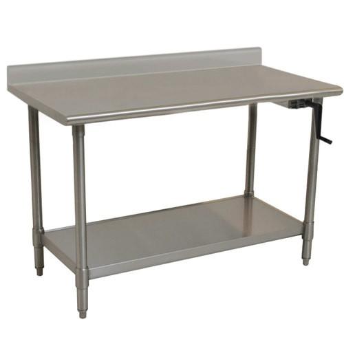 Eagle ADA/Ergonomic Height Adj. Stainless Steel Table With Backsplash U0026  Stainless Shelf Base, 24 X 60