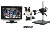 "Pro-Zoom 6.5 Analog Trinocular Package, 1/3"" Color Analog Camera & 19"" LCD Screen, 5-65x Magnification"