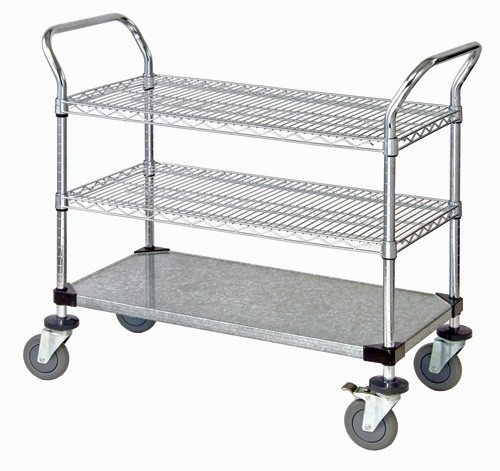 Stainless Steel Wire Shelf | Quantum Wrsc 2436ss 3s Utility Cart With 2 Stainless Steel Wire
