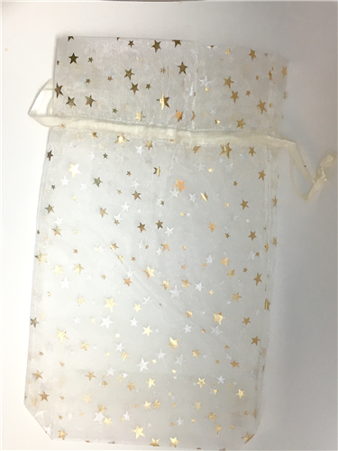 Gold star drawstring organza bag