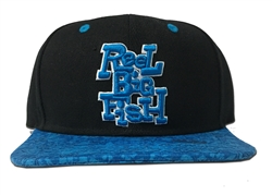 Embroidered snap back hat with silly fish bill