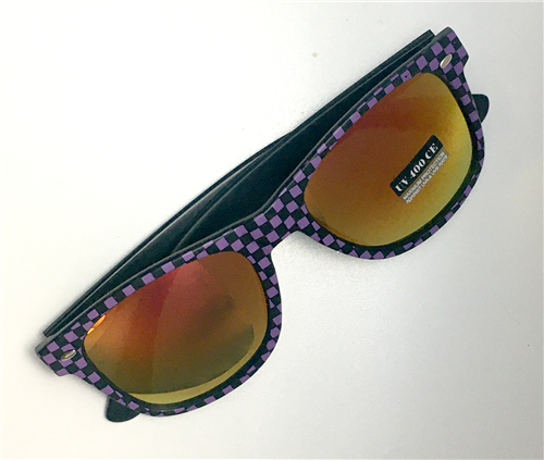 2019 purple checkered sunglasses with case